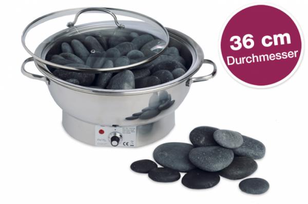 Hot Stone Massage Wärmegerät Edelstahl, groß - 36 cm Durchmesser (Lieferumfang OHNE Steine)