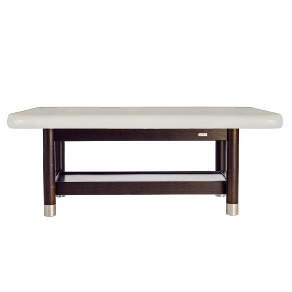 Ayurvedaliege mit fester Arbeitshöhe, großer Liegefläche mit erhöhtem Rand, Untergestell: Palisander lackiert | Bezugsfarbe: blanco