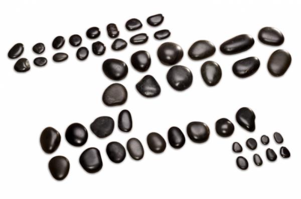 Hot Stone Massagestein Set mit 54 Basaltsteinen - Komplettset - naturbelassene Qualität