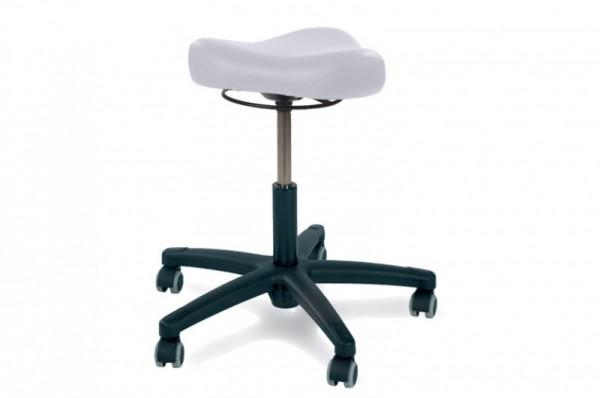 Rollhocker POSTO mit Triositz, schwarzes Kunststoff Fußkreuz, Polsterfarbe - blanc