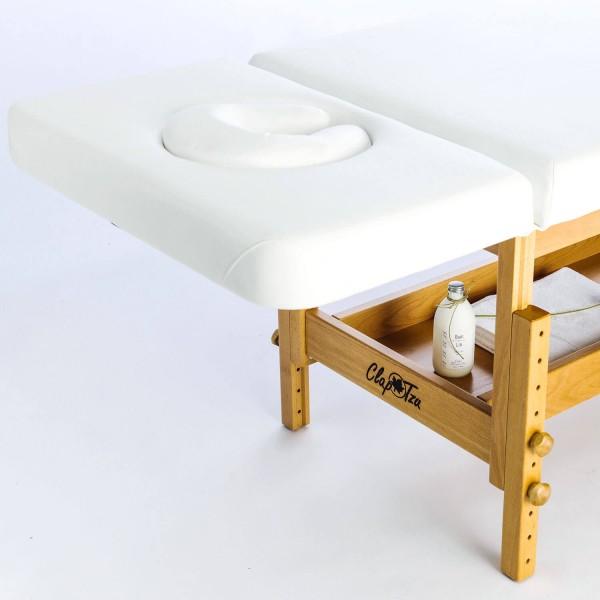 Holz-Massageliege Stabilo mit Kopfteil 40°/90° | Untergestell Buche lackiert| Bezugsfarbe PU-blanco