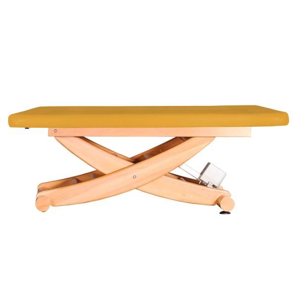 Ayurvedaliege mit Scherenmodell aus massiven Holz, Untergestell Buche lackiert, HAVANNA Serie, Farbe PU-sol