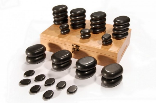 Hot Stone Set 36-teilig in Bambusbox
